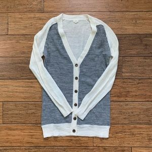 Grey and White V Neck Cardigan